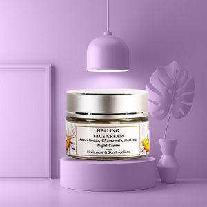 Sandalwood, Haritaki, Chamomile - Natural Night Face Cream - Healing Acne - Paraben Free