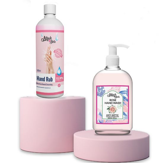 Rose Hand Wash & Sanitizer Gel Combo (250ml+500ml)