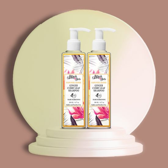 Mirah Belle Ginger Curry Leaf Hair Darkening Shampoo, Fights Premature Greying, White Hair, Grey Hair, Sulfate and Paraben free