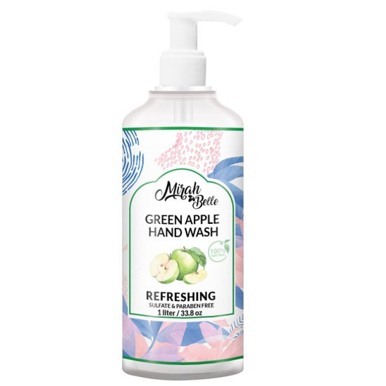 Green Apple - Natural Hand Wash - Sulfate & Paraben Free - 1 litre - FDA Approved