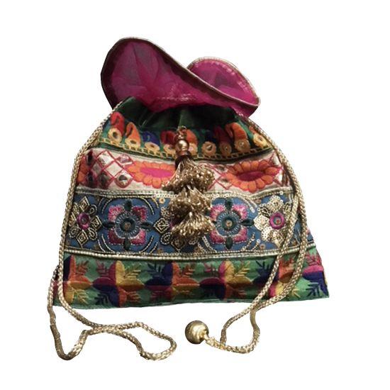 Multicolour Handcrafted Silk Potli